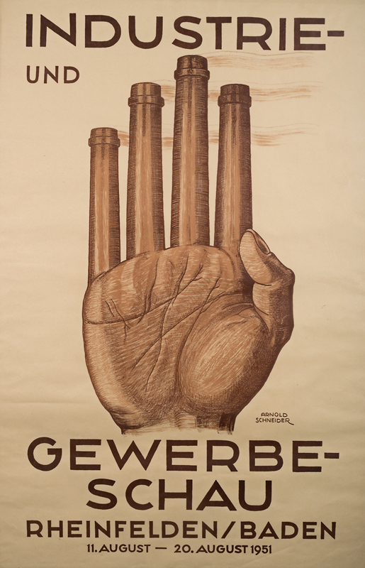"""Arnold Schneider: Plakat anlässlich der """"Industrie- und Gewerbeschau"""" 1951 in Rheinfelden"""