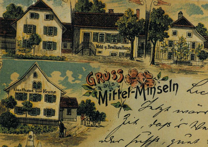 Historical postcard of Minseln (1900)