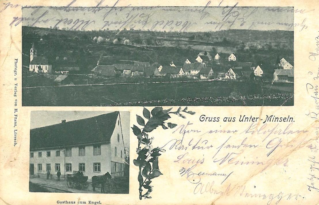 Postkarte Unterminseln um 1903