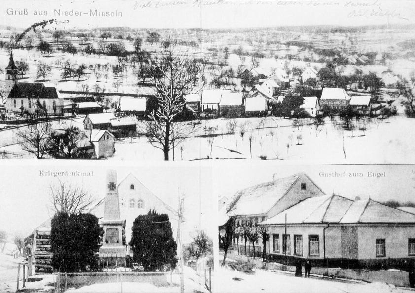 Winteraufnahmen in Minseln um 1910