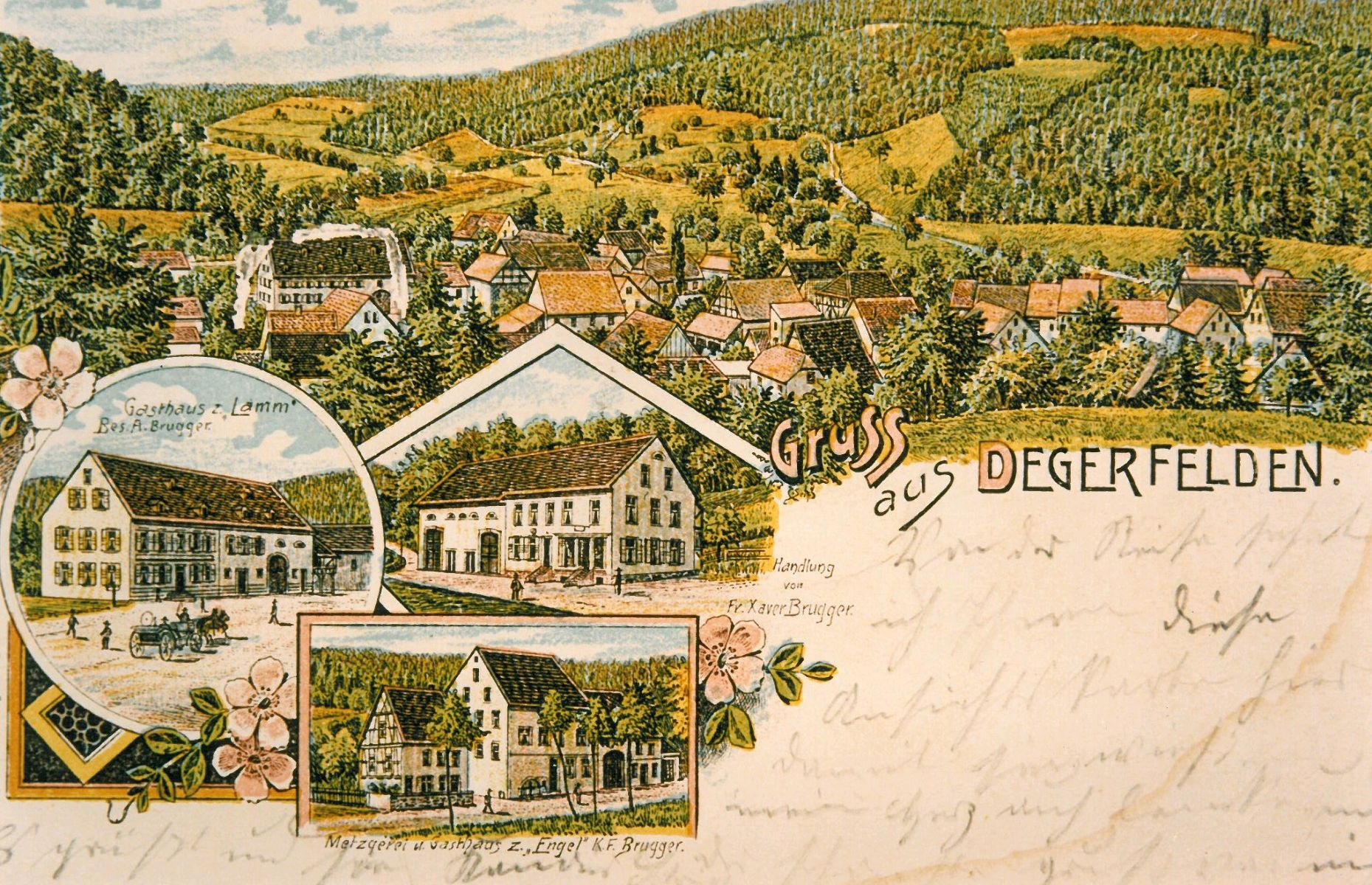 Painted postcard of Degerfelden (1900)