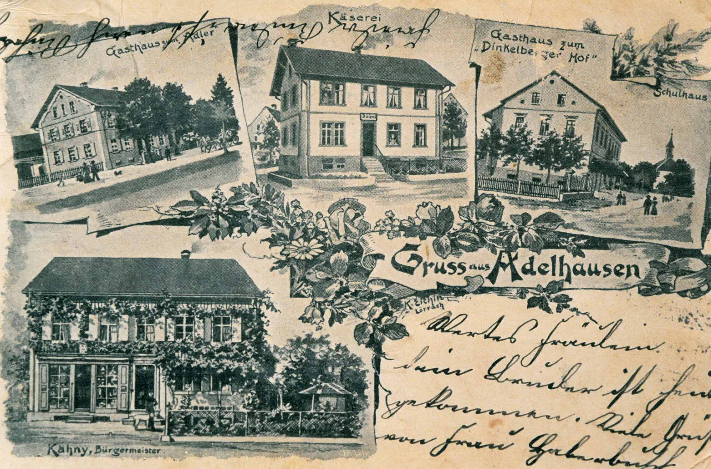 Painted Postcard of Adelhausen (1900)
