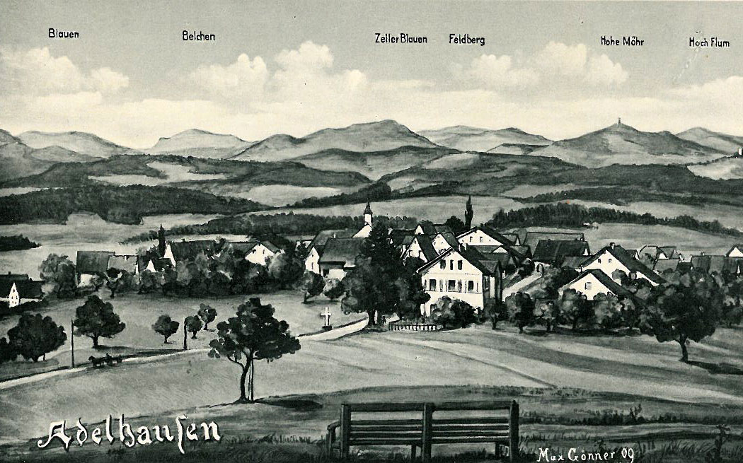 Painted postcard of Adelhausen (1910)