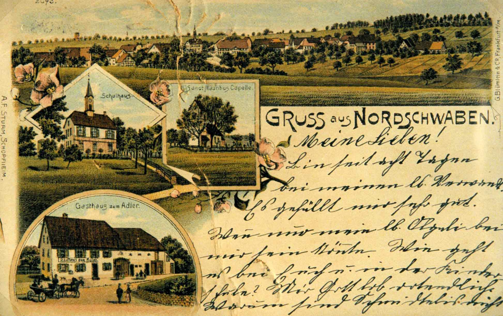 Ansichtskarte von Nordschwaben um 1913