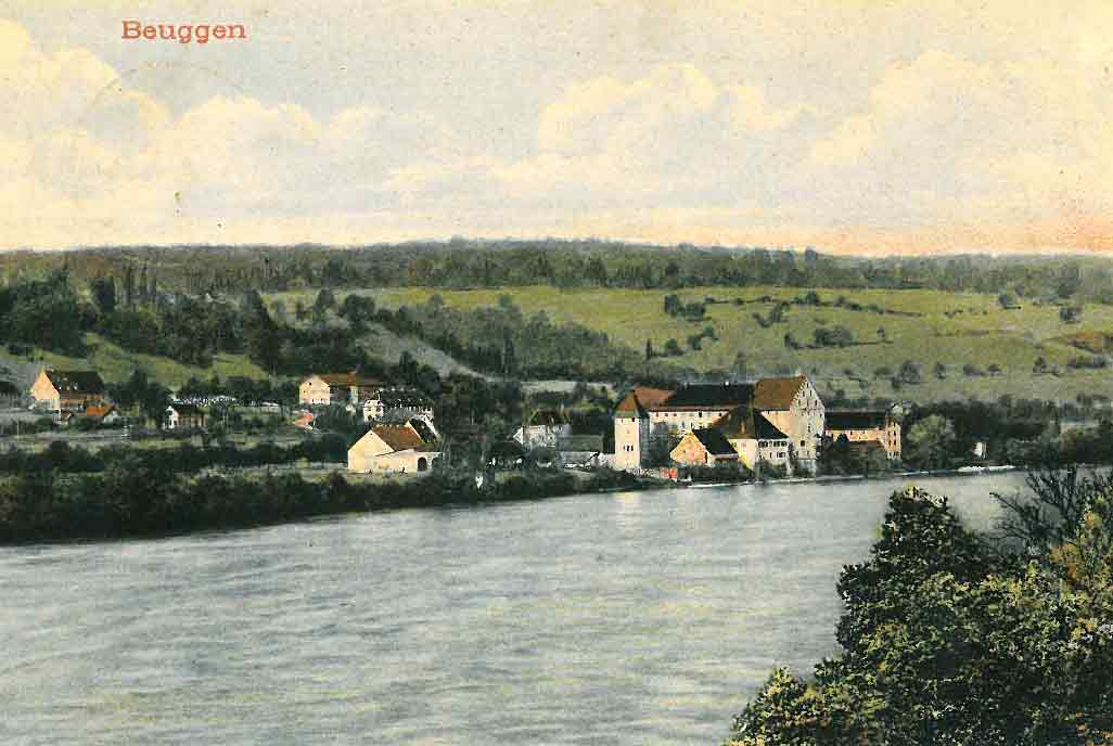 Painted postcard of Beuggen (1906)