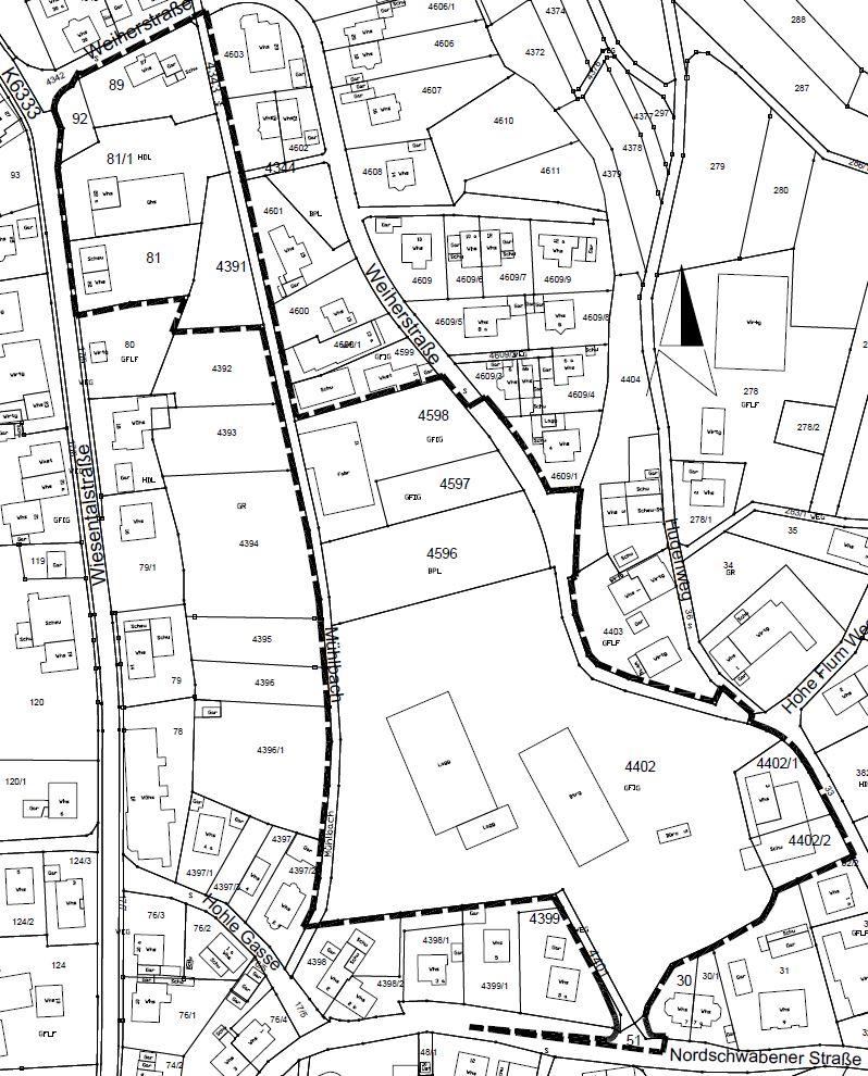 Das Bild zeigt das Gebiet, welches der Bebauungsplan Weihermatten umfasst.