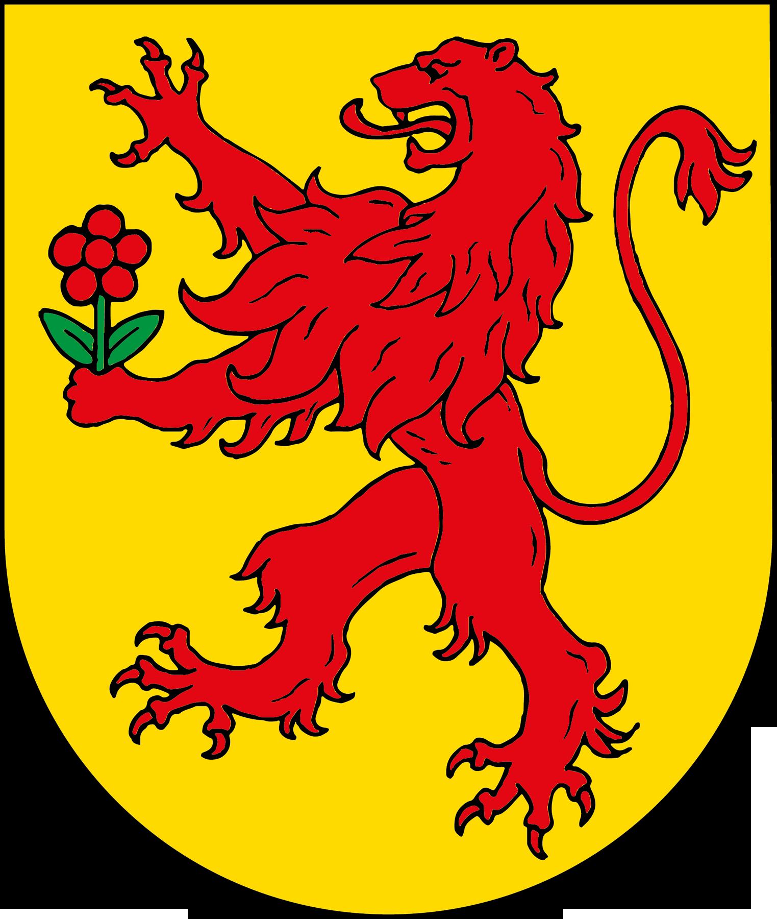 Wappen der Stadt Rheinfelden: Roter Löwe mit Rose auf gelbem Grund.