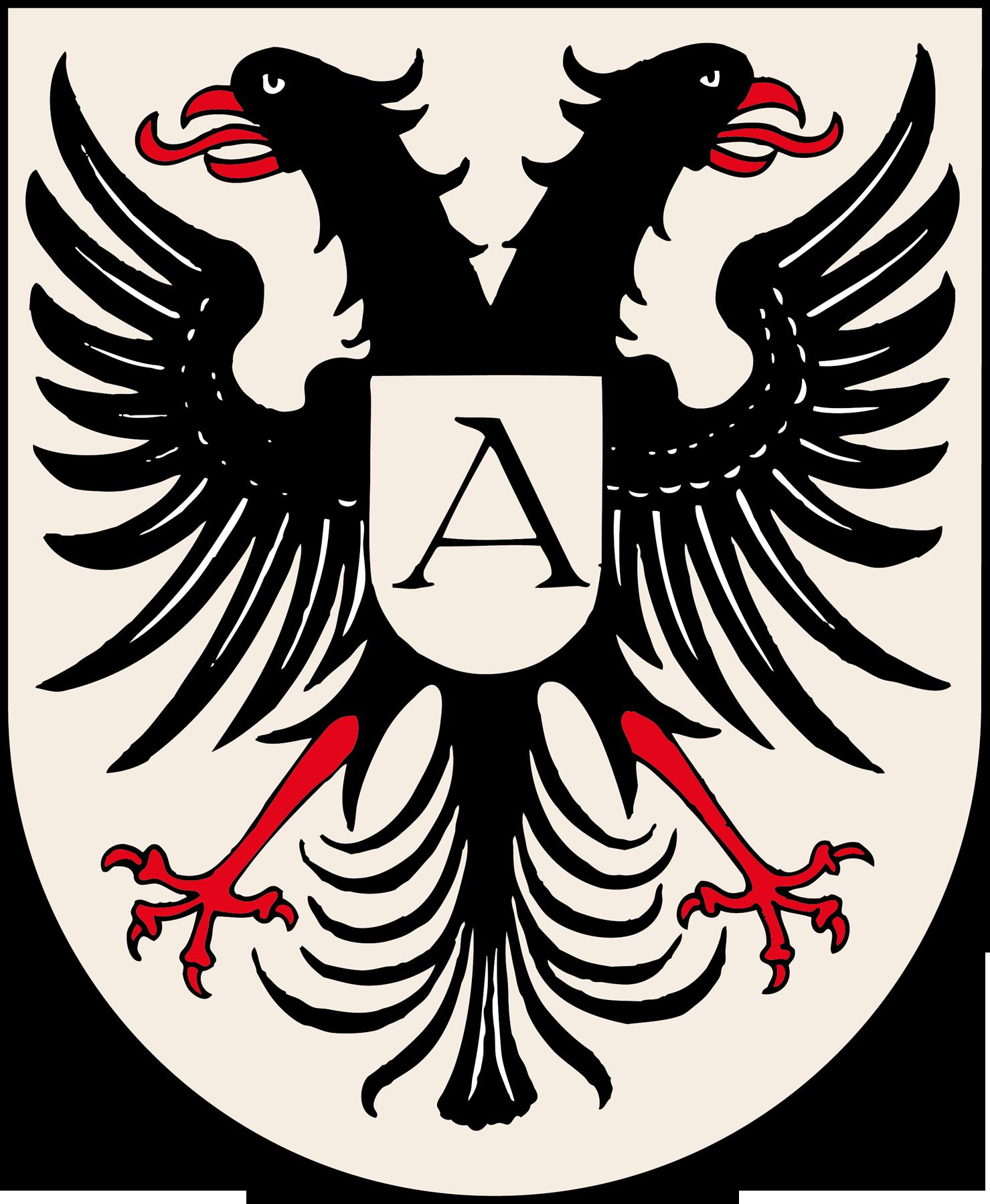 Wappen von Adelhausen: Ein Doppelkopfadler auf hellem Grund.