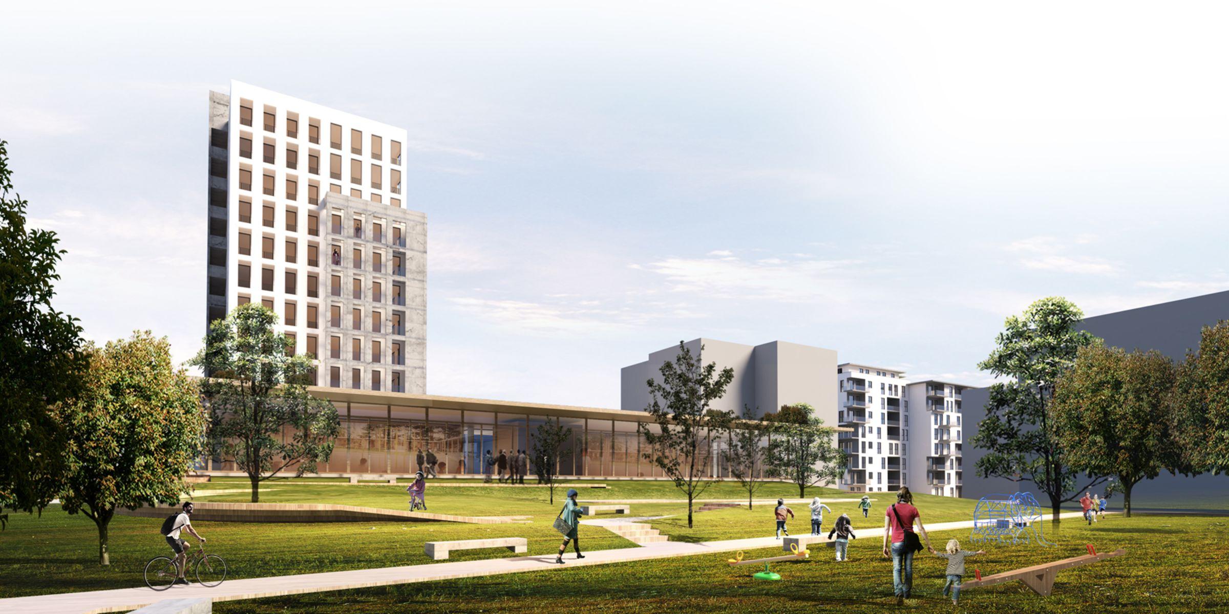 Simulation des Projekts Römerstraße (Entwurf Wohnbau)