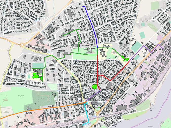 Übersichtsplan über das städtische Nahwärmenetz.