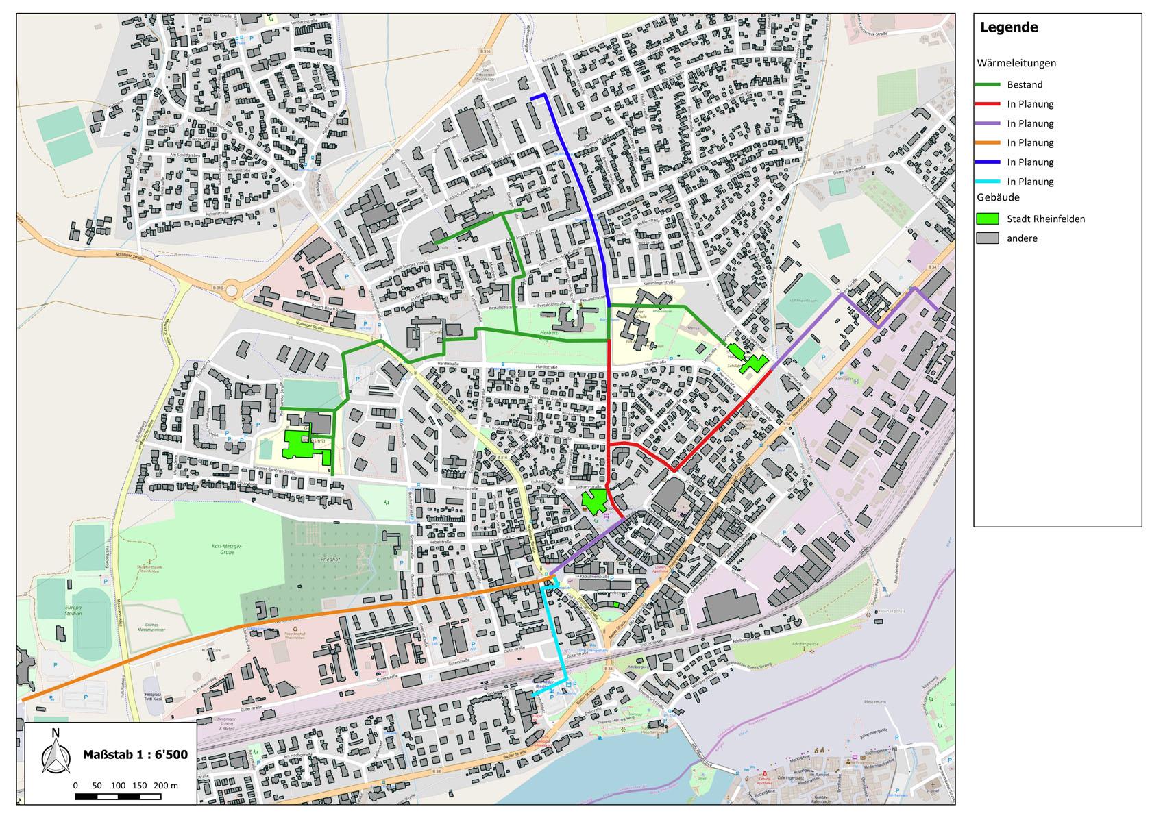 Übersichtskarte über das bestehende und geplante Wärmenetz