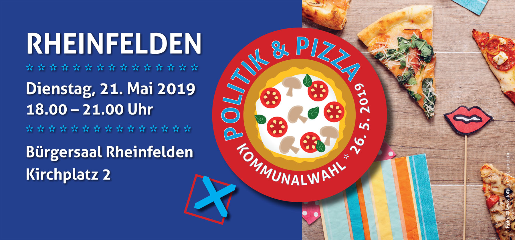 Flyerdeckblatt:Politik und Pizza