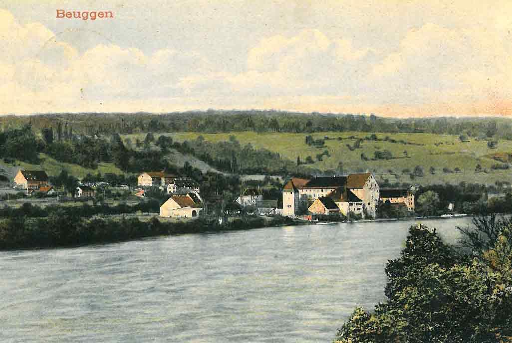 Gemalte Ansichtskarte von Beuggen aus dem Jahre 1906