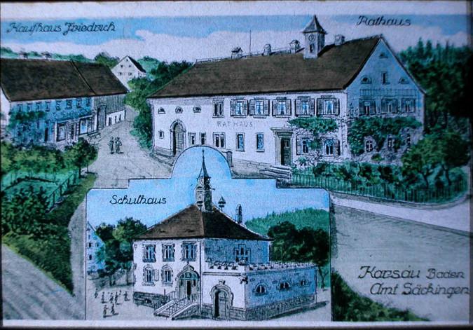Gemalte Ansichtskarte des Schulhauses sowie des Rathauses in Karsau