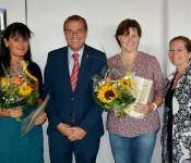 Marina Schrempp, OB Klaus Eberhardt, Barbara Zumkeller und BMin Diana Stöcker