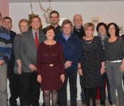 """Elf Jubilare und """"neue Pensionäre"""" ließen bei einem gemütlichen Essen mit Oberbürgermeister Eberhardt das Jahr ausklingen."""