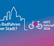 Plakat zur Umfrage zum großen ADFC-Fahrradklima-Test 2018.
