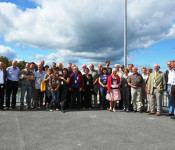 Besuchergruppe der fünf Partnerstädte im neuen Laufwasserkraftwerk
