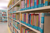 Kinder- und Jugendbücher im Regal.