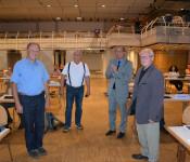Oberbürgermeister Klaus Eberhardt ehrt Paul Renz, Wilfried Markus und Gustaf Fischer für ihre langjährige Tätigkeit im Aufsichtsrat der städtischen Wohnbau.