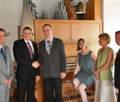 Oberbürgermeister Klaus Eberhardt, André Marker, Martin Litschgi, Petra Rieckmann, Liane Klingler und Michael Schleith