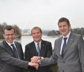Stadtammann Franco Mazzi, Oberbürgermeister Klaus Eberhardt und Oliver Tschudin