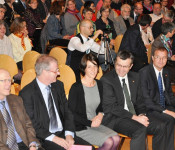 Bürgermeister Rolf Karrer, Daniel Vulliamy, Ursula Philipps, Stadtammann Franco Mazzi und Oberbürgermeister Klaus Eberhardt