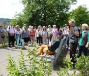 Hans-Georg Bruttel erläutert die Stauden im Stadtpark.