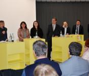 Joachim Kruse, Halide Berber, Slavica Stanojevic, Oberbürgermeister Klaus Eberhardt, Fatih Sahan, Süleyman Emre und Ueli Mäder