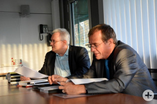 Stadtkämmerer Udo Düssel und Oberbürgermeister Klaus Eberhardt
