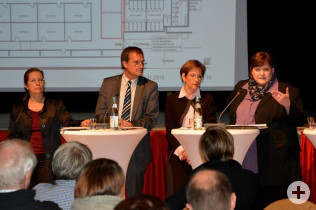 Bürgermeisterin Diana Stöcker, Oberbürgermeister Klaus Eberhardt, Landrätin Diana Stöcker und Elke Zimmermann-Fiscella