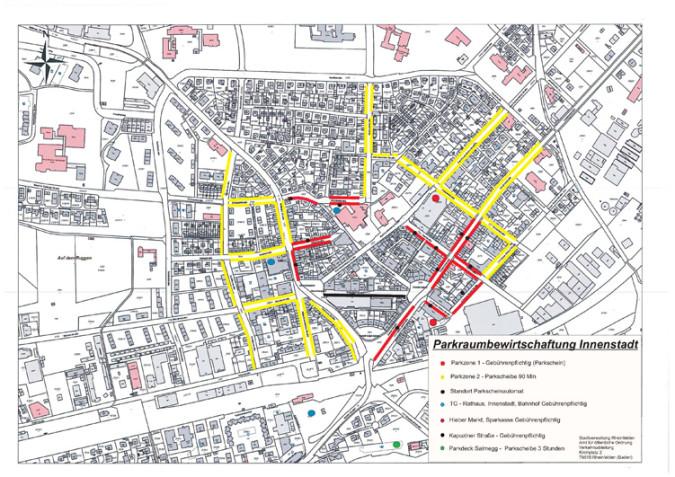 Die neue Parkgebührensatzung sieht im Innenstadtbereich von Montag bis Samstag für oberirdische Parkplätze ein gebührenpflichtiges Parken vor.