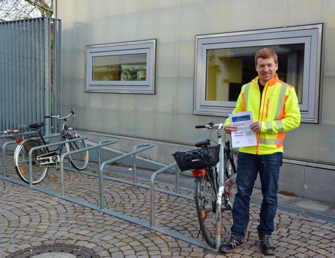 Radverkehrsbeauftragter Patrick Nacke von der Stadtverwaltung freut sich über das gute Abschneiden Rheinfeldens beim ADFC Fahrrad-Klimatest.
