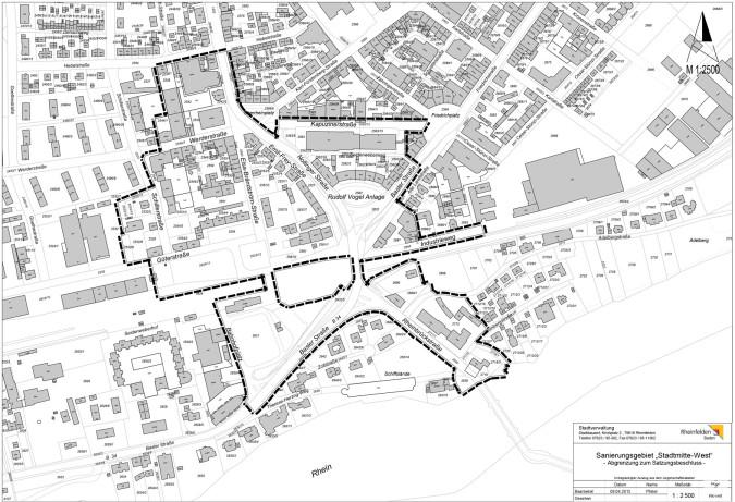 """Karte des Sanierungsgebiets """"Stadtmitte West"""""""
