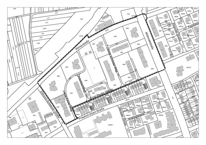 """Geltungbereich des Bebauungsplans """"Zwischen der Hardt-, Müßmatt- und Römerstraße"""""""