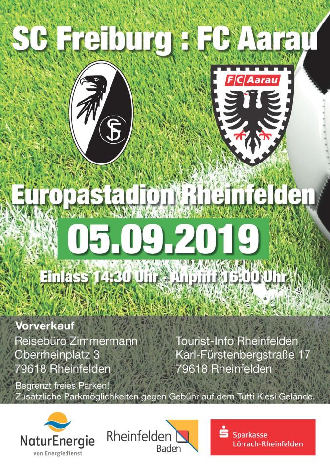 Plakat, das das Fußballspiel im Rheinfelder Europastadion zwischen dem SC Freiburg und dem FC Aarau ankündigt