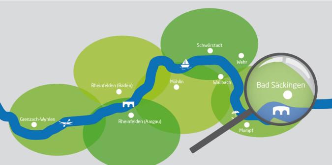 Rheinuferrundweg-Karte mit Lupe auf Bad Säckingen