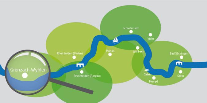 Rheinuferrundweg-Karte mit Lupe auf Grenzach-Wyhlen