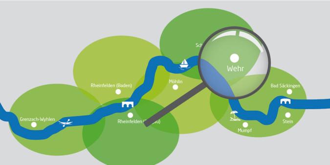 Rheinuferrundweg-Karte mit Lupe auf Wehr