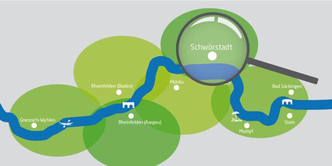 Rheinuferrundweg-Karte mit Lupe auf Schwörstadt