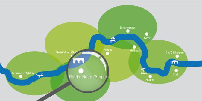 Rheinuferreundweg-Karte mit Lupe auf Rheinfelden (Aargau)