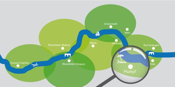 Rheinuferrundweg-Karte mit Lupe auf Mumpf