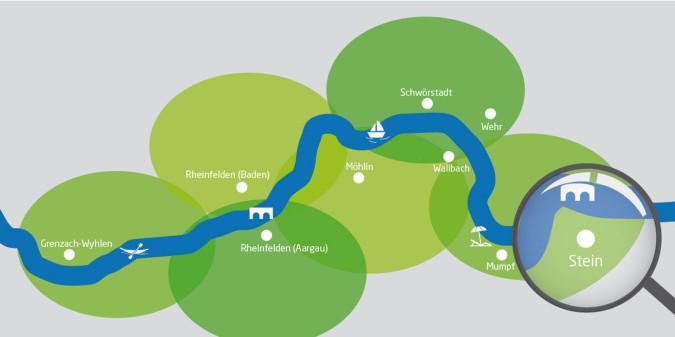 Rheinuferrundweg-Karte mit Lupe auf Stein im Fricktal