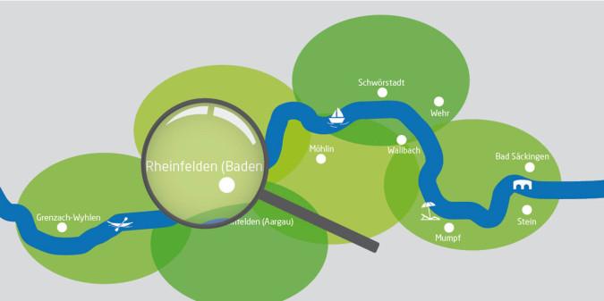 Rheinuferrundweg-Karte mit Lupe auf Rheinfelden (Baden)