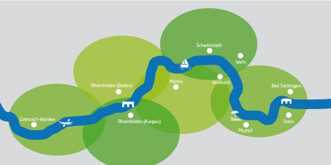 Stilisierte Rheinuferrundweg-Karte mit allen beteiligten Gemeinden