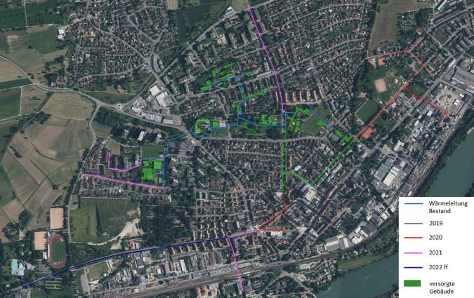 Karte Wärmenetz - Bestand und geplanter Ausbau