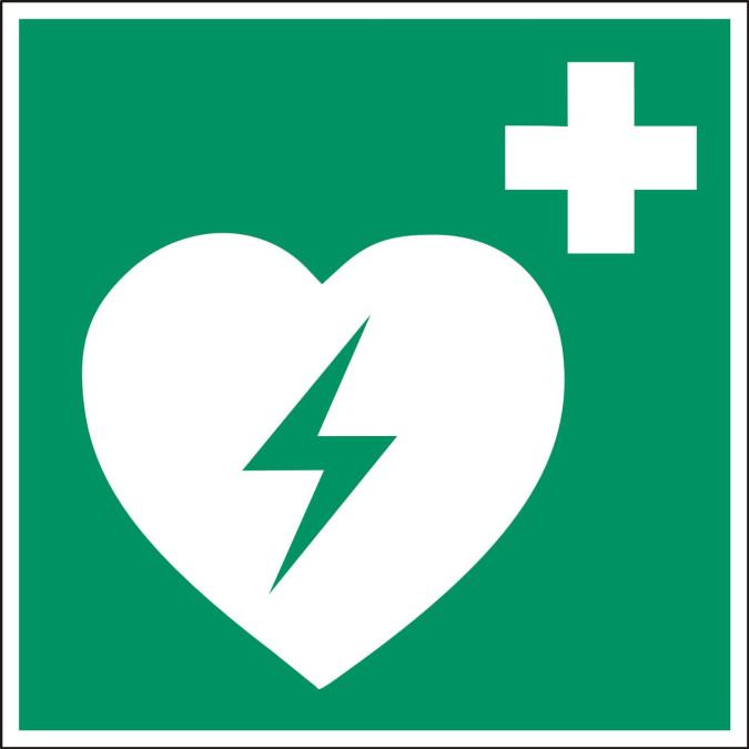 Symbol für den Standort eines Defibrillators