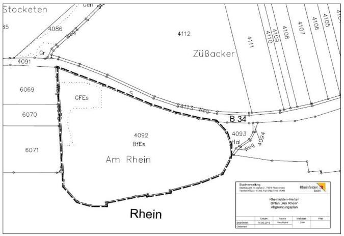 """Abgrenzungsplan """"Am Rhein"""""""