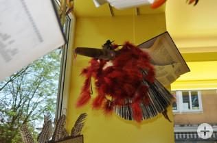 Büchervögel flattern wild in der Stadtbibliothek
