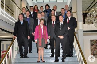 Landrätin Marion Dammann mit den Bürgermeistern des Landkreises Lörrach im Rathaus in Rheinfelden (Baden)